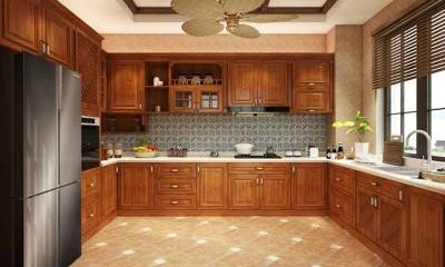 Kitchen Cabinet in Southeast Asia Style with Ceiling Fans