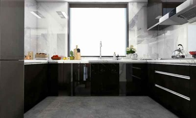 U-shaped Kitchen Cabinet and Design in Black 17m²/183ft²