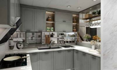 Kitchen Design Ideas | Custom Light Grey Kitchen Cabinets