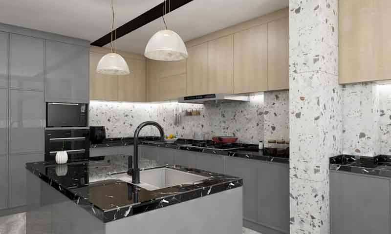 Modern Kitchen Design by Grey Cabinets and Black Countertop Island