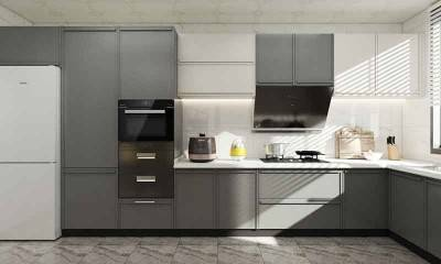 Grey and White Kitchen Cabinets in Modern Design Style