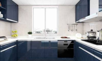 Blue Kitchen Cabinets in U-shaped Kitchen Design