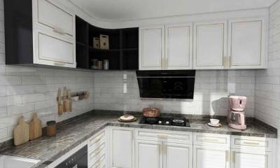 White Kitchen Cabinets with Grey Countertop