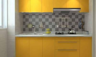 Custom Kitchen Cabinets in Yellow and Modern Design