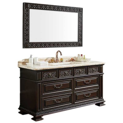 Classical 60-inch Bathroom Vanity Cabinet, Marble Bathroom Cabinet