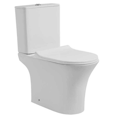 Contemporary Space-saving Power Dual Flush Water Efficient Bathroom Toilets