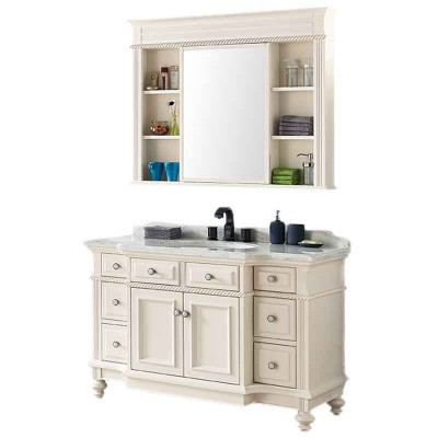 51-inch Bathroom Vanity with Storage Units, White Bathroom Cabinet