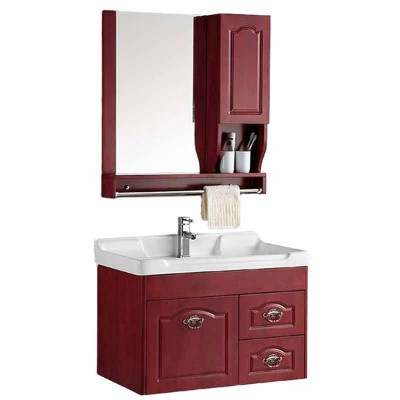 Wood Wall Hung Bathroom Sink Cabinets 32-inch with Mirror and Tops