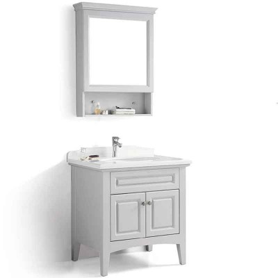 Bathroom Single Sink Vanity 32-inch, Wooden Bathroom Floor Cabinet