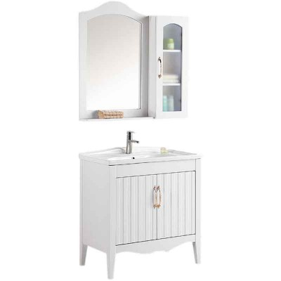 White Bathroom Cabinet 32-inch with Framed Mirror and Side Cabinet