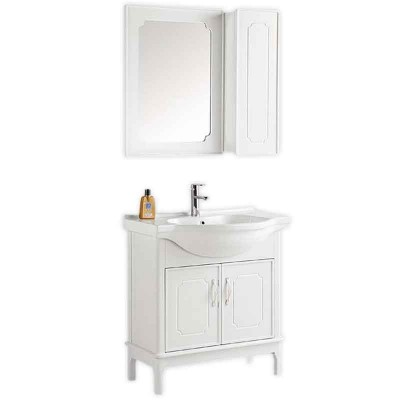 Contemporary White Bathroom Vanity with Mirror and Side Cabinet
