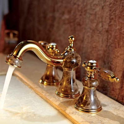 Brass and Jade Widespread Bathroom Sink Faucet 2 Handle