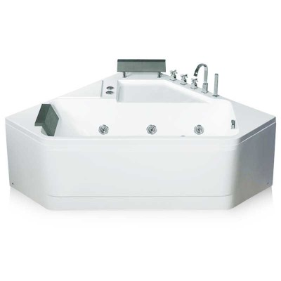 60×60 inch Corner Bath, Acrylic Jetted Bathtub with Headrest