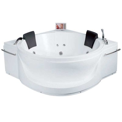 2-person Corner Whirlpool Tub 70×70″ Acrylic in White
