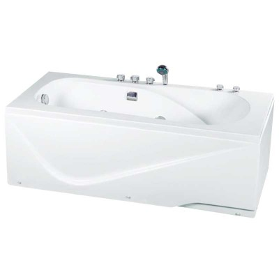 Acrylic Jet Soaking Bathtub | Alcove Whirlpool Bath with Shower
