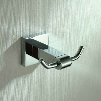 Double Towel Hook in Chrome | Bathroom Dual Robe Hook