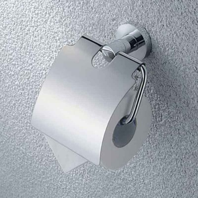 Toilet Paper Holder with Cover in Chrome for Bathroom