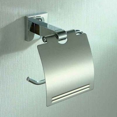 Single Post Toilet Tissue Holder with Cover in Chrome