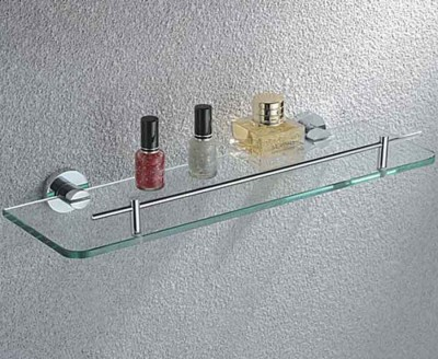 Glass Bathroom Shelf with Bar | Wall-mounted Glass Shelf