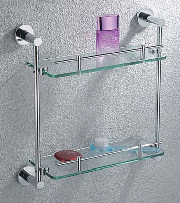 Double Wall Glass Shelves | Floating Glass Shelves with Rails
