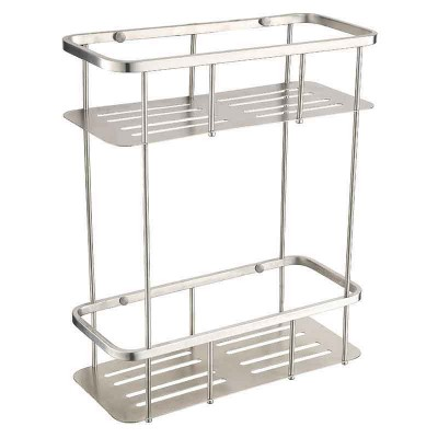 Bathroom Shower Double Shelves | Wall-mounted Chrome Shower Baskets