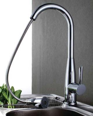 Single-Handle Pull Down Kitchen Faucet with Dual Function Spray in Chrome