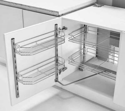 Kitchen Drawer 2-Tier Silver Chrome Plated