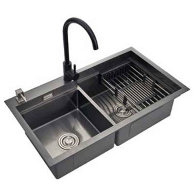 Drop in Double Bowl Kitchen Sink in Black| Kitchen Sink Factory