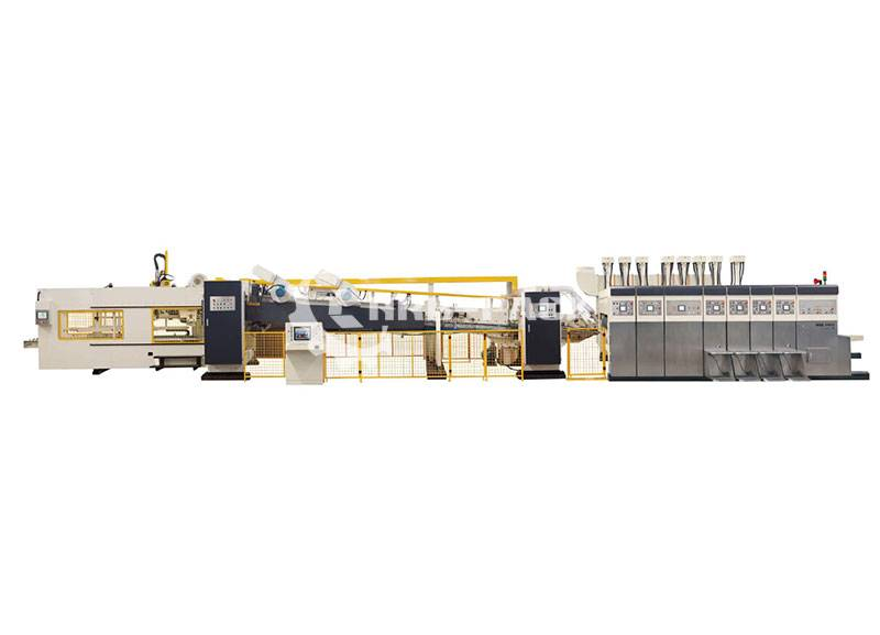 Fully Automatic Lead Edge Feeder Flexo Printer Slotter Die Cutter Gluer Line/ Case Maker