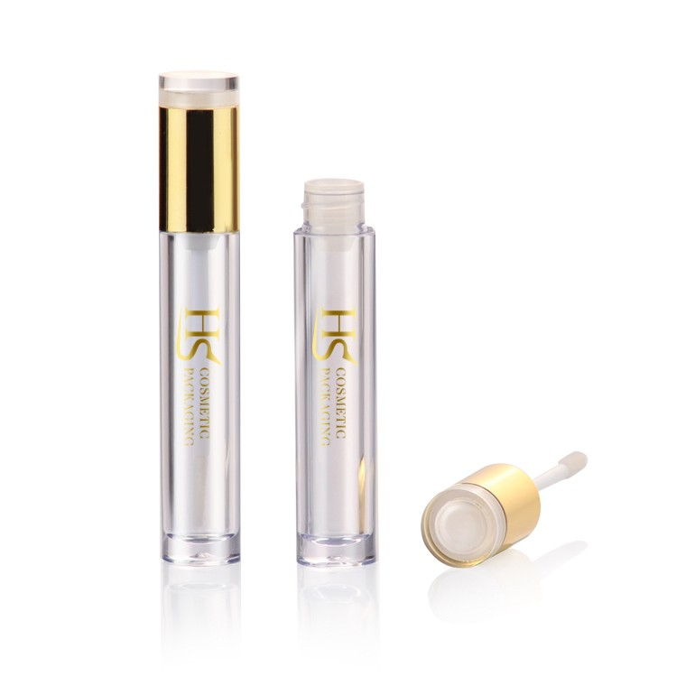 Hot sale cheap cosmetic empty plastic clear mini round lipgloss container tube with brush