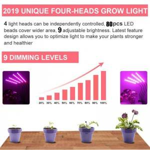 80W 4 Head Timing 80 LED 9 Dimmable Levels Plant LED Grow Lights for Indoor Plants with Red Blue Spectrum,Grow Ligh