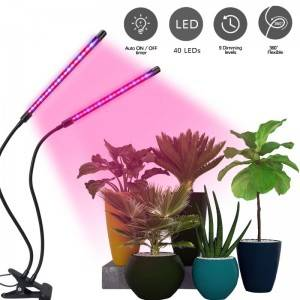 2 Head Dimmable 360 18W LED Grow Light Professi...