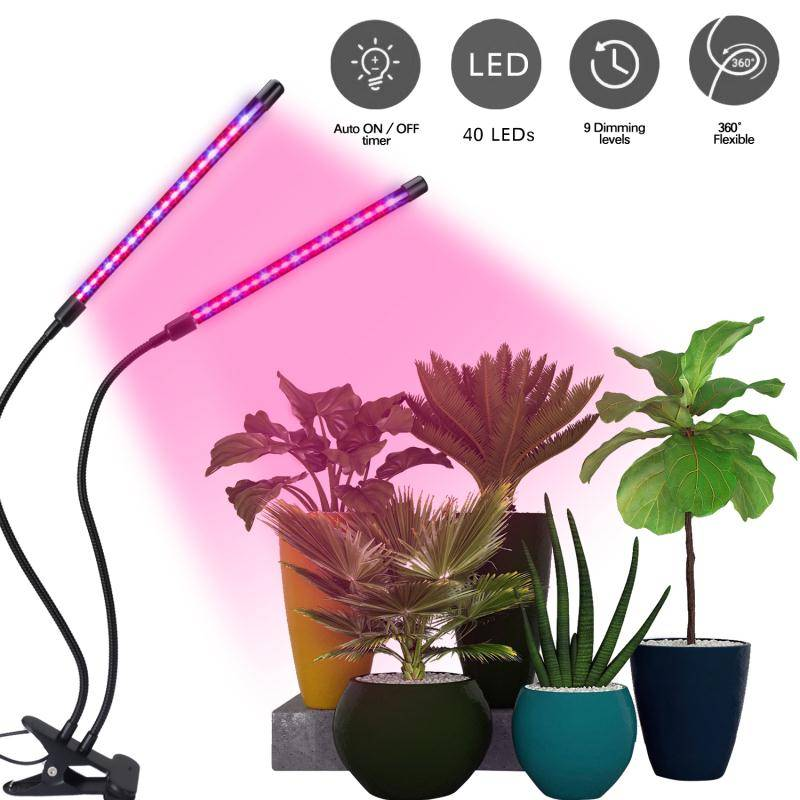 2 Head Dimmable 360 18W LED Grow Light Professional Plant Lamp Lights Full Spectrum for Indoor Plants Featured Image