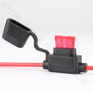 Automotive inline fuse holder,Medium,PVC,BLACK&RED,H3-81 | HINEW