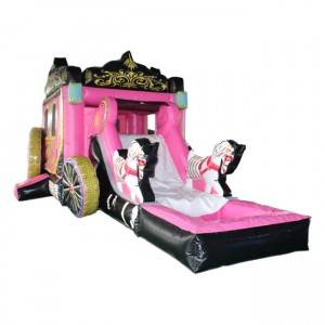 Cheap Price Girls Favourite Princess Carriage Inflatable Bounce House With Slide For Sale