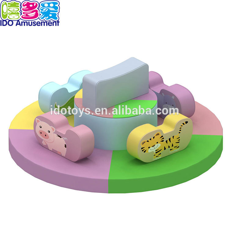 Rotating Indoor Playground Animal Toys Soft Play Carousel Equipment