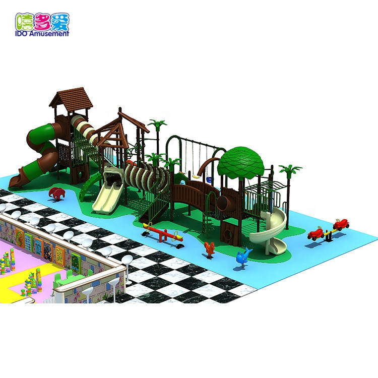 Jungle Theme Wooden Playground Big Indoor  Playground Business use for Sale