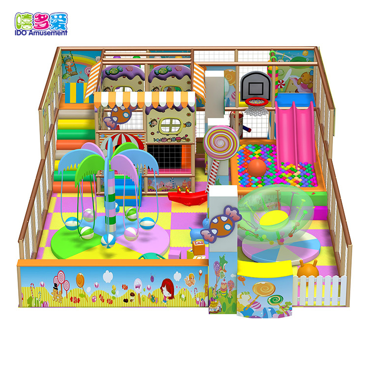 Best selling cheap and colorful indoor playground candy theme castale with slide and turntable