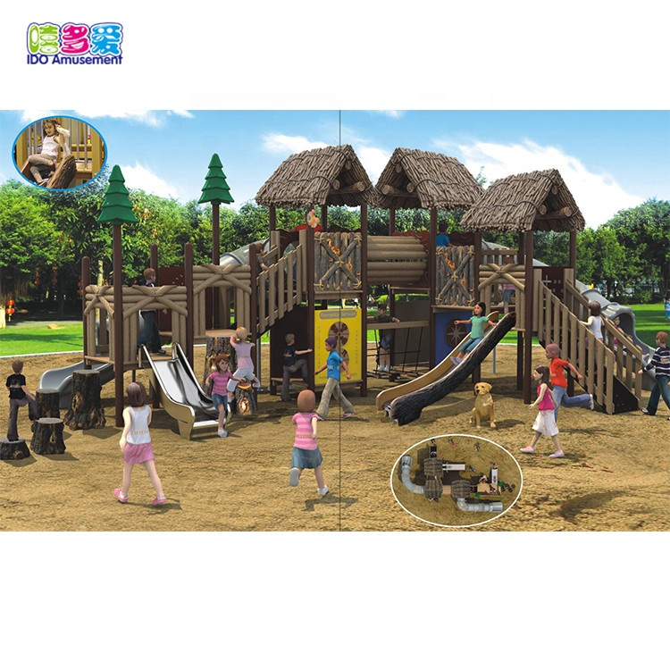 High Quality Wooden Playground Equipment Outdoor – Outdoor Backyard Wood Children Swing Playground Equipment – IDO Amusement
