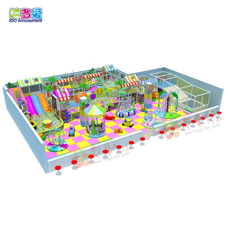 Kids soft play zone candy theme indoor  playground equipment with toys
