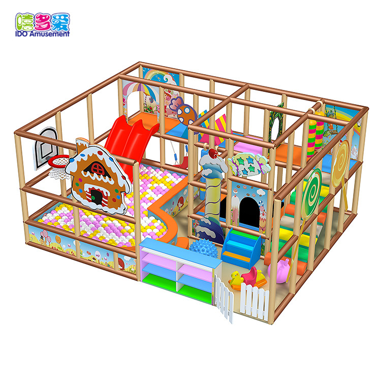 Wonderful attractive candy theme kids indoor playground with slide