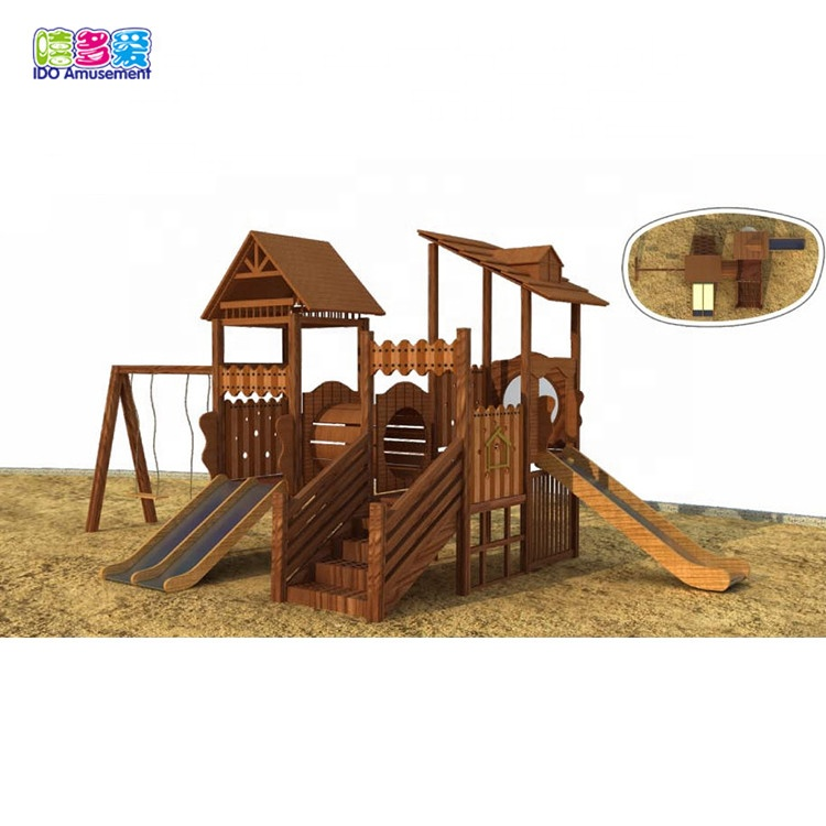 High Quality Wooden Playground Equipment Outdoor – Customized Children Wooden Outdoor Playground House With Swing Set – IDO Amusement