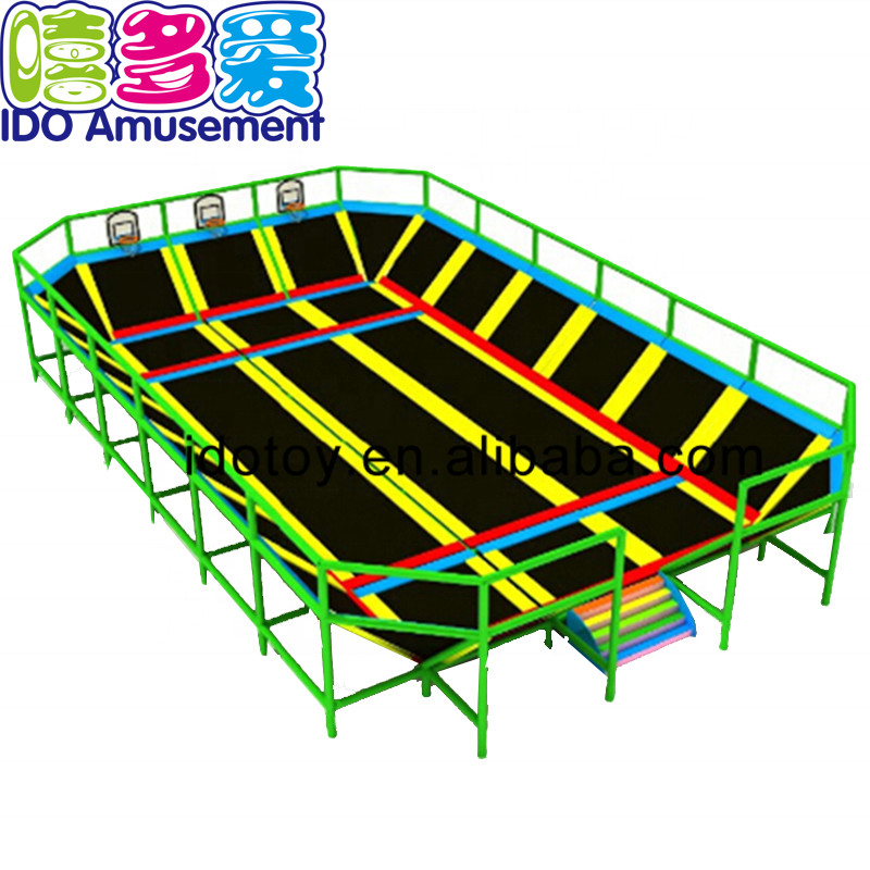 New style decoration design amusement park indoor playground rectangular trampoline