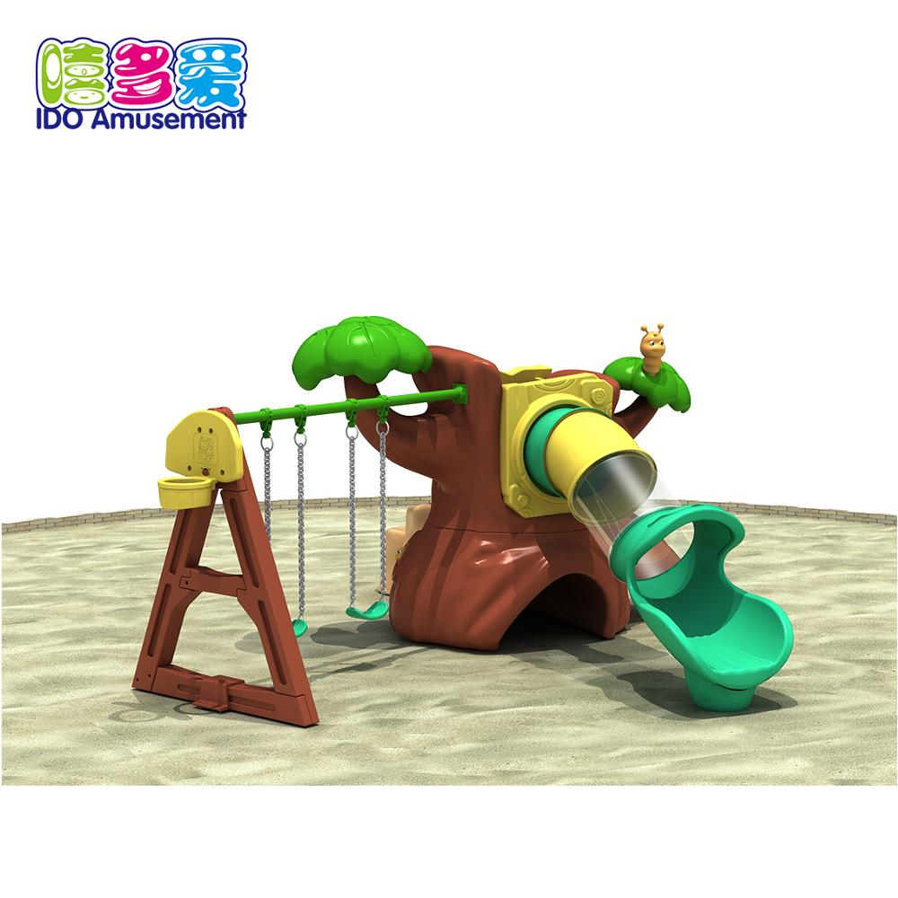 Outdoor Playground Jungle Style Tube Slides with swing set Equipment