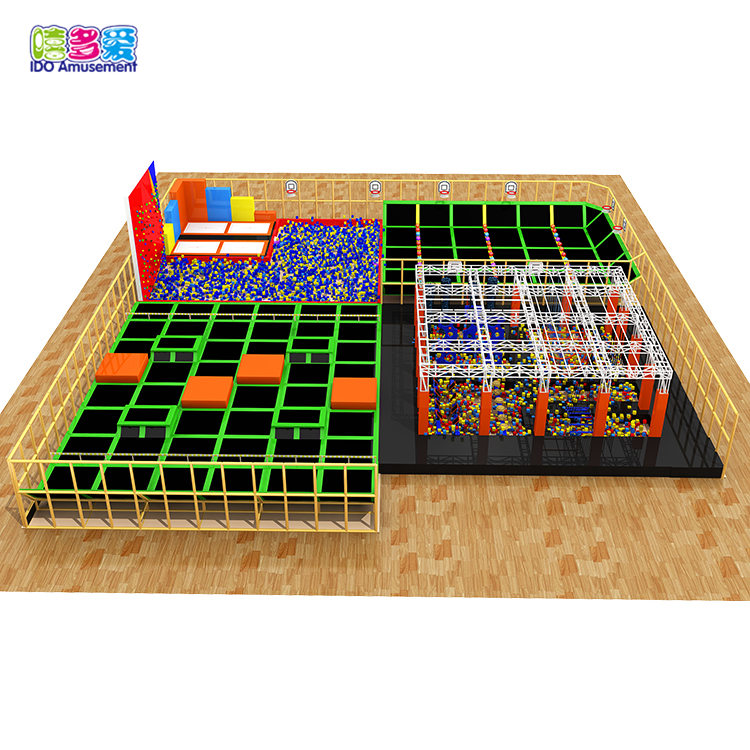 Trampoline Jumping Indoor Playground With Ball Pool And Climbing Wall For Adults