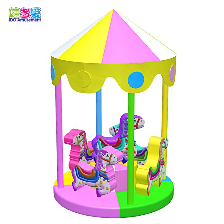 Ido Amusements Hot Selling 2019 Horse Carousel Soft Play Kids Toys Indoor