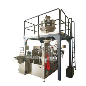 Rotary granule premade stand up pouch bag packaging machine