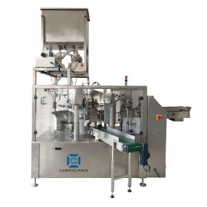 Rotary liquid spout doypack pouch filling packing machine