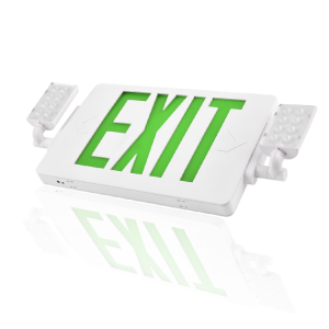 2019 NEW Slim LED Combo EMERGENCY EXIT SIGN with LED Heads (GREEN Letters)