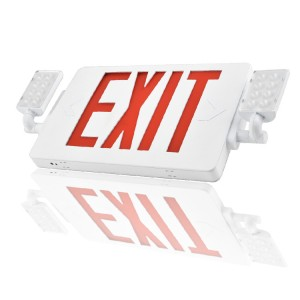 2019 NEW Slim LED Combo EMERGENCY EXIT SIGN with LED Heads (Red Letters)